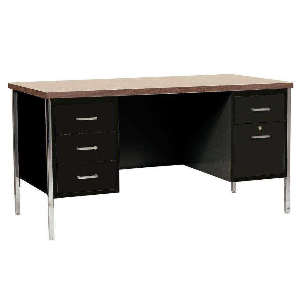30 in. H x 60 in. W x 30 in. D 400 Series Double Pedestal Steel Desk in Black/Walnut