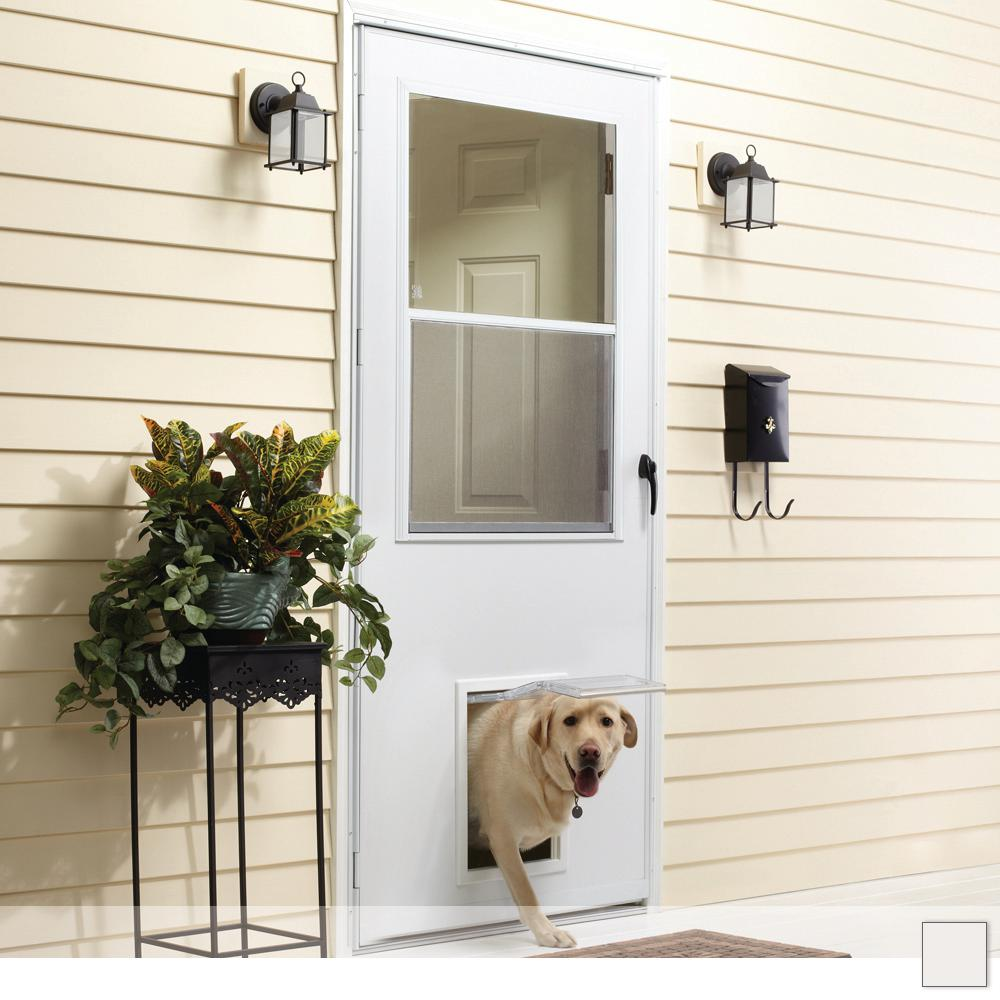 EMCO K900 Series Self-Storing Storm Door with Pet Entry System