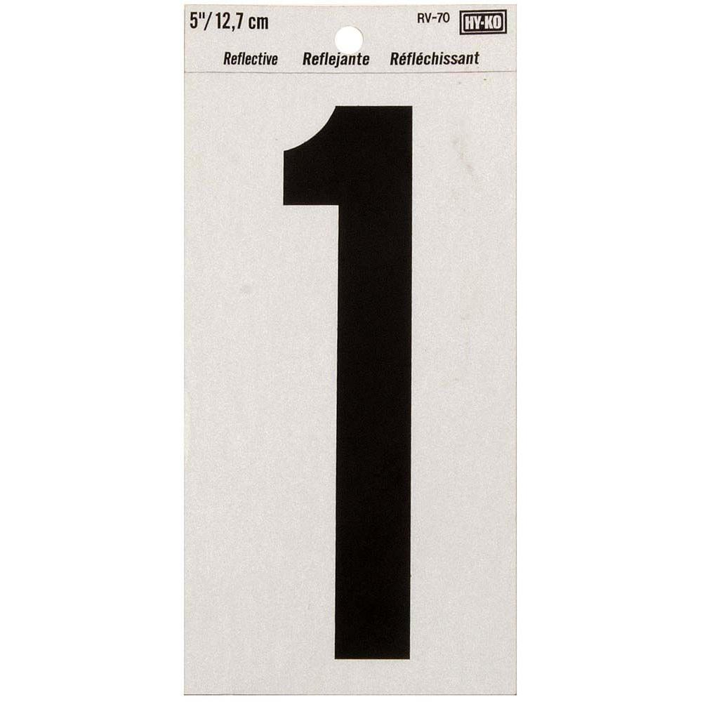 HY-KO 5 in. Vinyl Reflective Number 1-RV-70/1 - The Home Depot