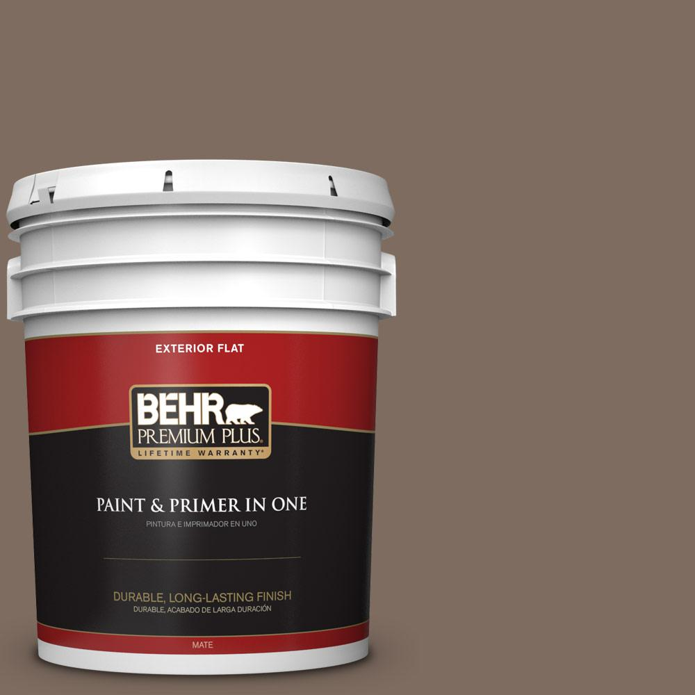 5 gal. #PPU5-03 Antique Earth Flat Exterior Paint and Primer in