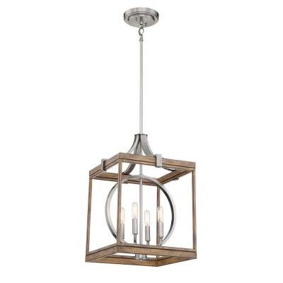Country Estates 4-Light Sun Faded Wood with Brushed Nickel Pendant