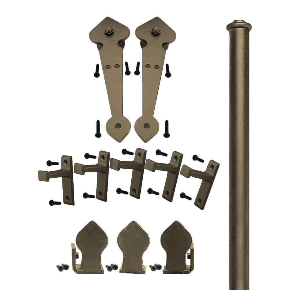 Quiet Glide 3/4 in. - 1-1/2 in. Spade Oil Rubbed Bronze Rolling Door Hardware Kit