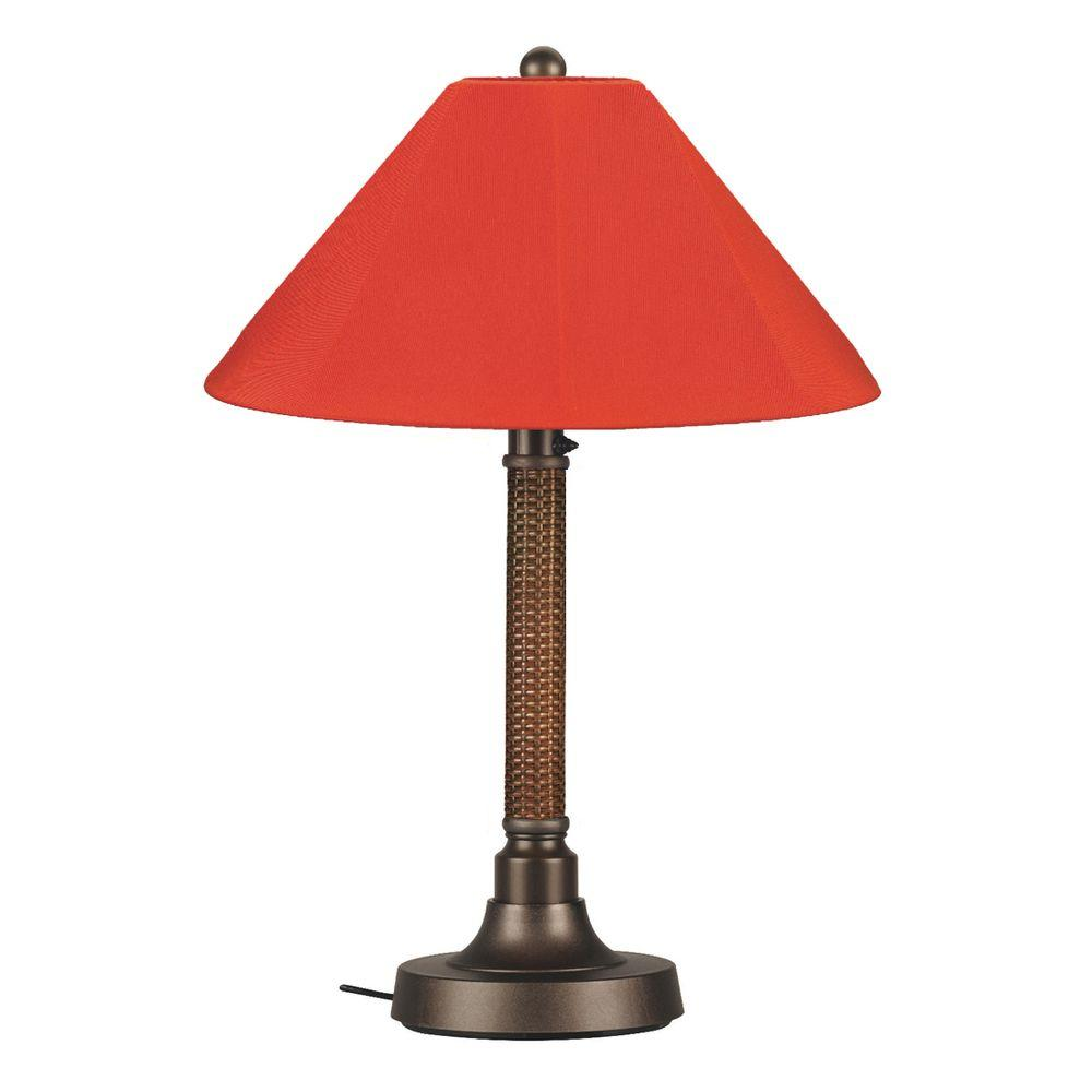 Patio Living Concepts Bahama Weave 34 in. Red Castango Outdoor Table Lamp with Melon Shade