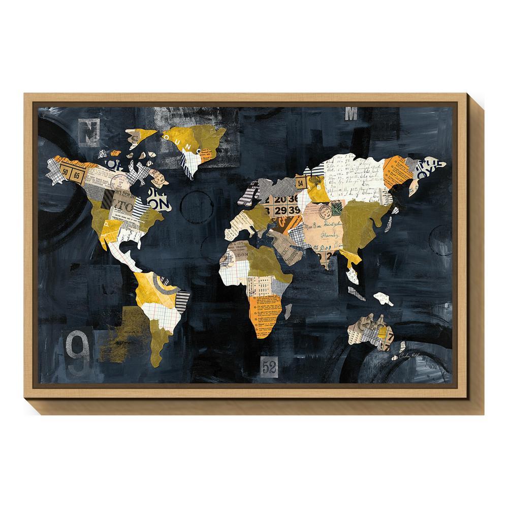 Amanti Art Golden World Map Black By Courtney Prahl Framed