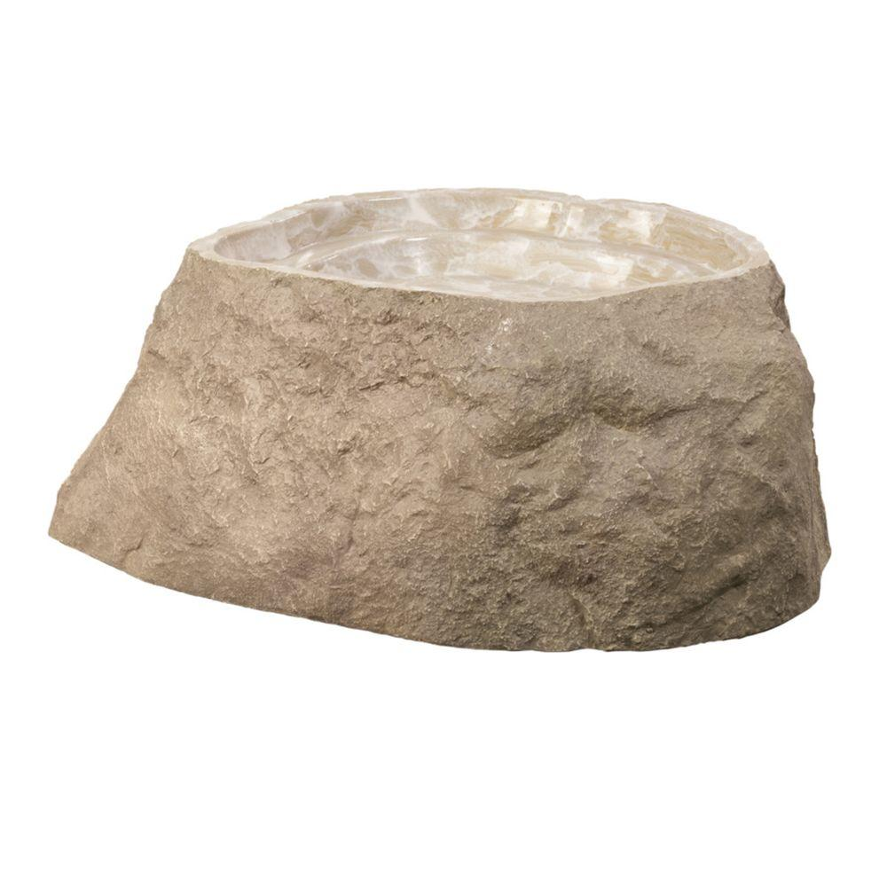 Outdoor Essentials 33 in. x 28 in. x 4.5 in. Fiberlite Medium Imitation Tan Birdbath Rock