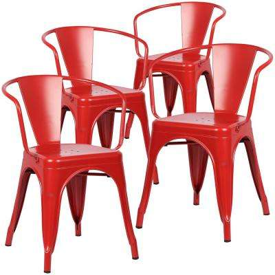 Cantina Red Arm Chair (Set of 4)