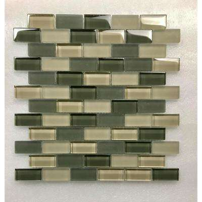 Free Flow Fog Green Linear Mosaic 1 in. x 2 in. Glass Wall Pool and Floor Tile (0.96 Sq. ft.)