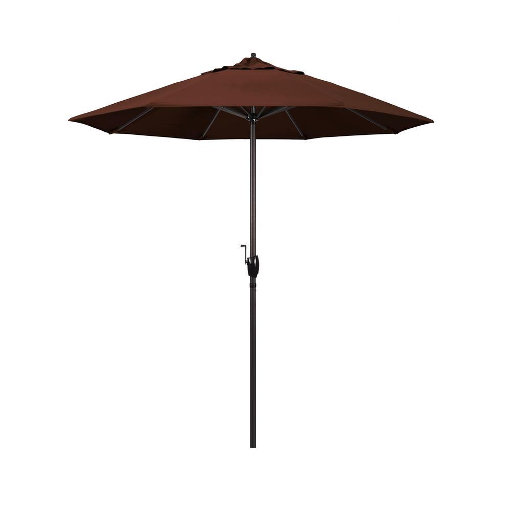 7.5 ft. Bronze Aluminum Market Auto-Tilt Crank Lift Patio Umbrella in Bay Brown Sunbrella