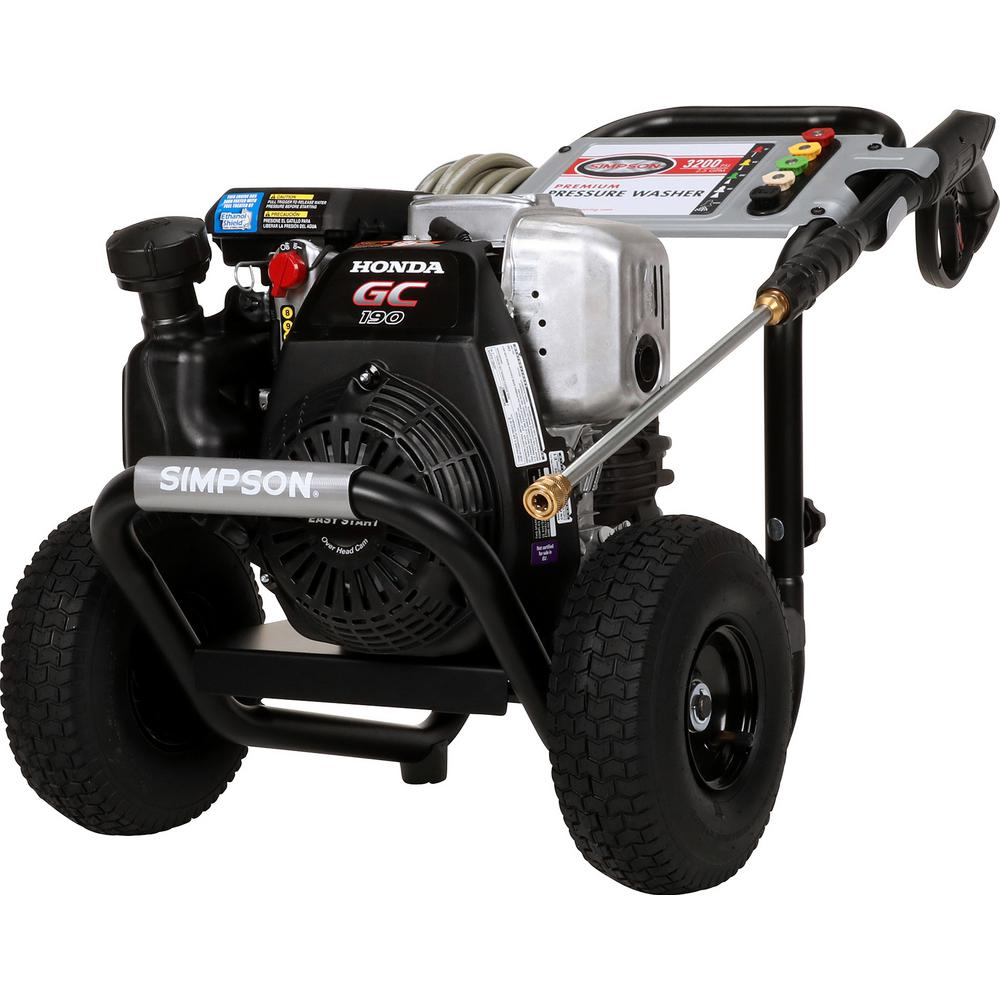 Simpson SIMPSON MSH3125 3200 PSI at 2 5 GPM gas pressure washer powered by  HONDA GC190