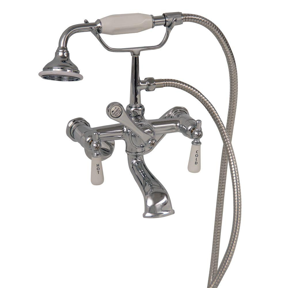 Pegasus 3-Handle Claw Foot Tub Faucet with Elephant Spout and Hand Shower in Polished Chrome