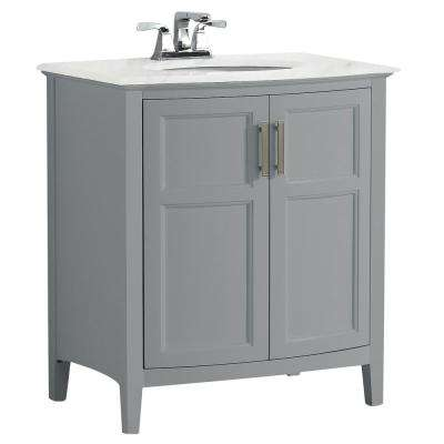 Winston 30 in. Rounded Front Bath Vanity in Warm Grey with Marble Extra Thick Vanity Top in Bombay White with Basin