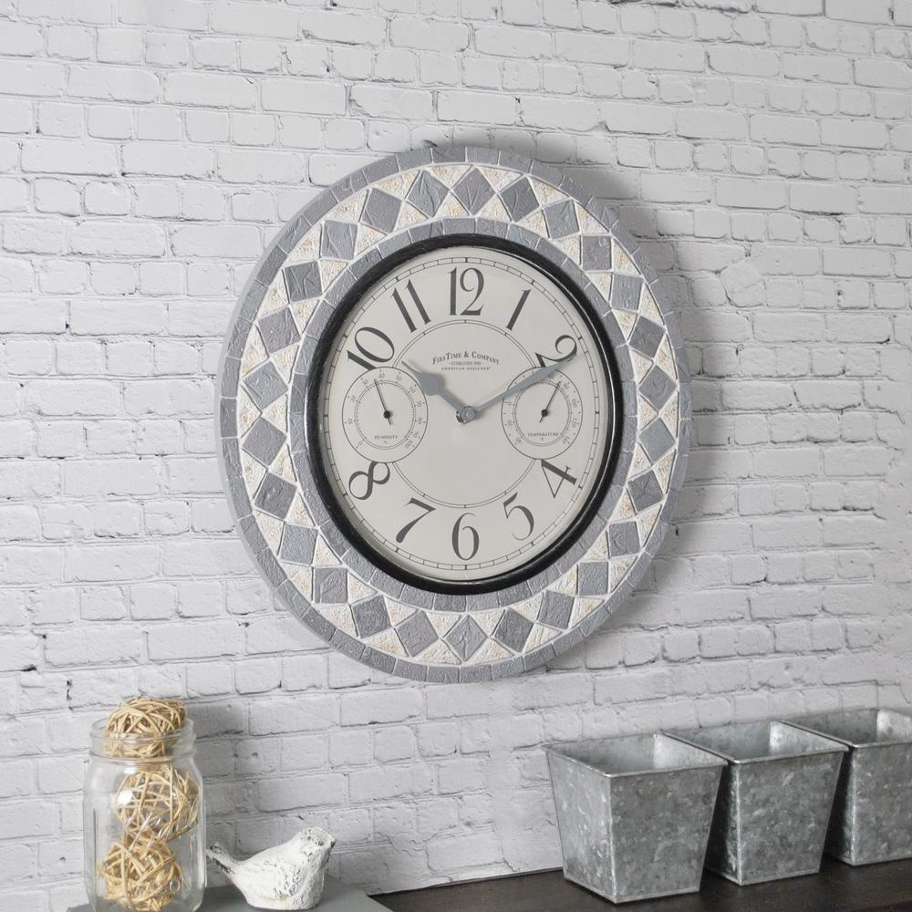 firstime patio pavers outdoor wall clock 31036 the home depot rh homedepot com outdoor patio clocks under $50 outdoor patio clocks under $50