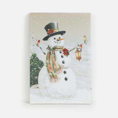24 in. Country Snowman Canvas Print with LED Lights