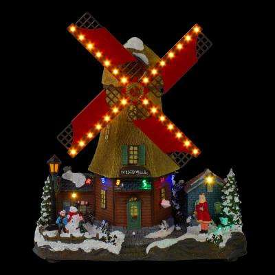 10.5 in. H x 9 in. W LED Lighted and Animated Winter Windmill Village Scene with Music