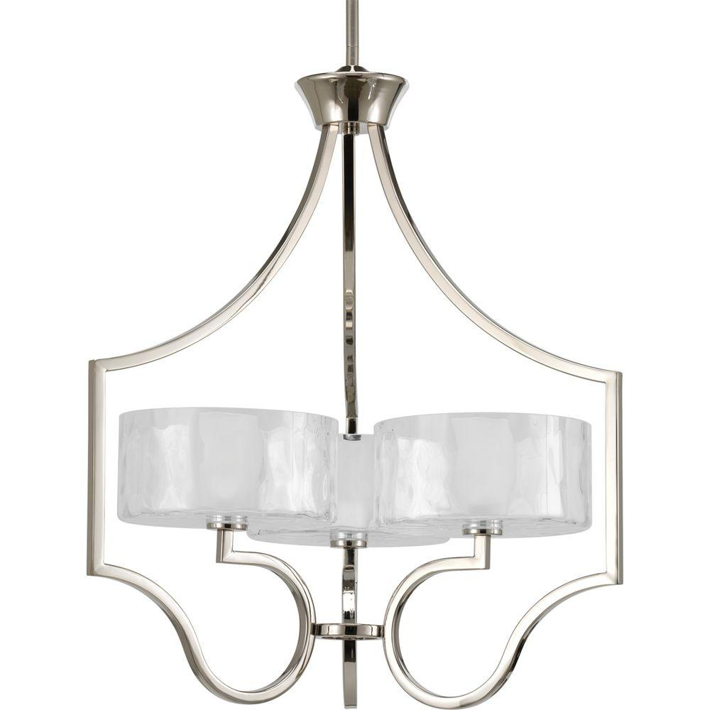 Delightful Progress Lighting Caress Collection 3 Light Polished Nickel Chandelier With  Shade