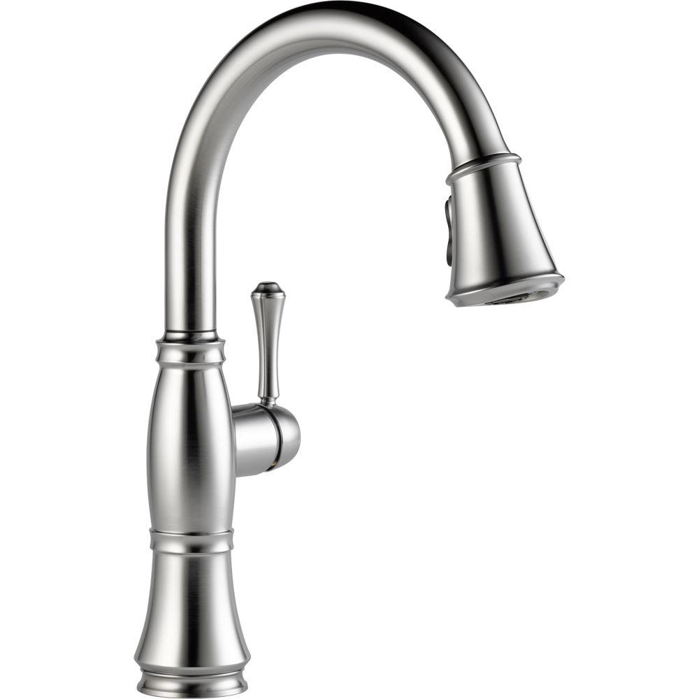 Delta Cassidy Single Handle Pull Down Sprayer Kitchen Faucet In Arctic Stainless 9197 Ar Dst