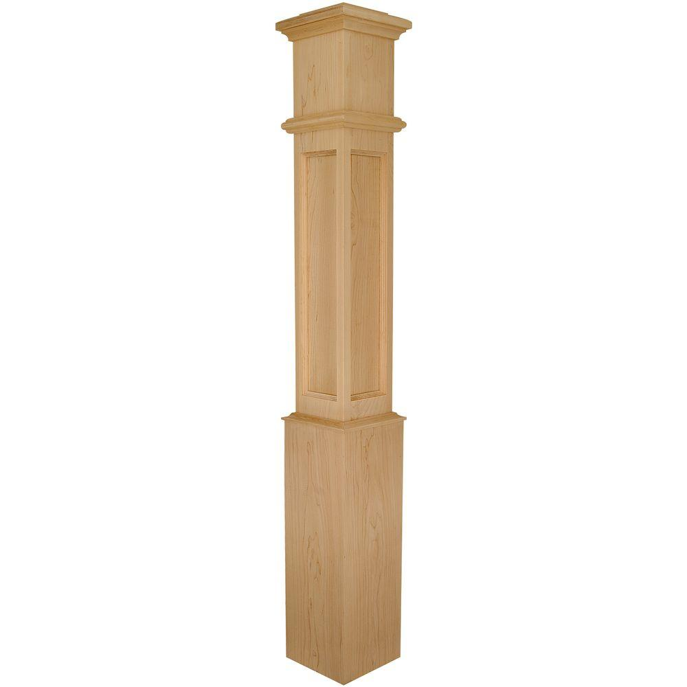 Stair Parts 4098 56 in. x 7-1/2 in. Hard Maple Flat Panel Box Newel Post