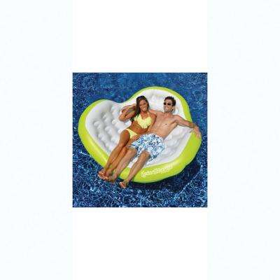 80 in. x 75 in. Green/White Lotus Blossom Pool Float