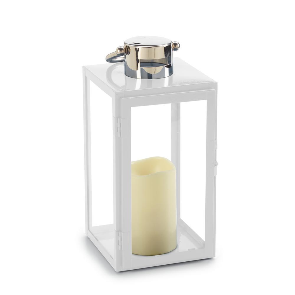 Smart Design Nemo 11 in. White 1-Light Integrated LED Candle Lantern