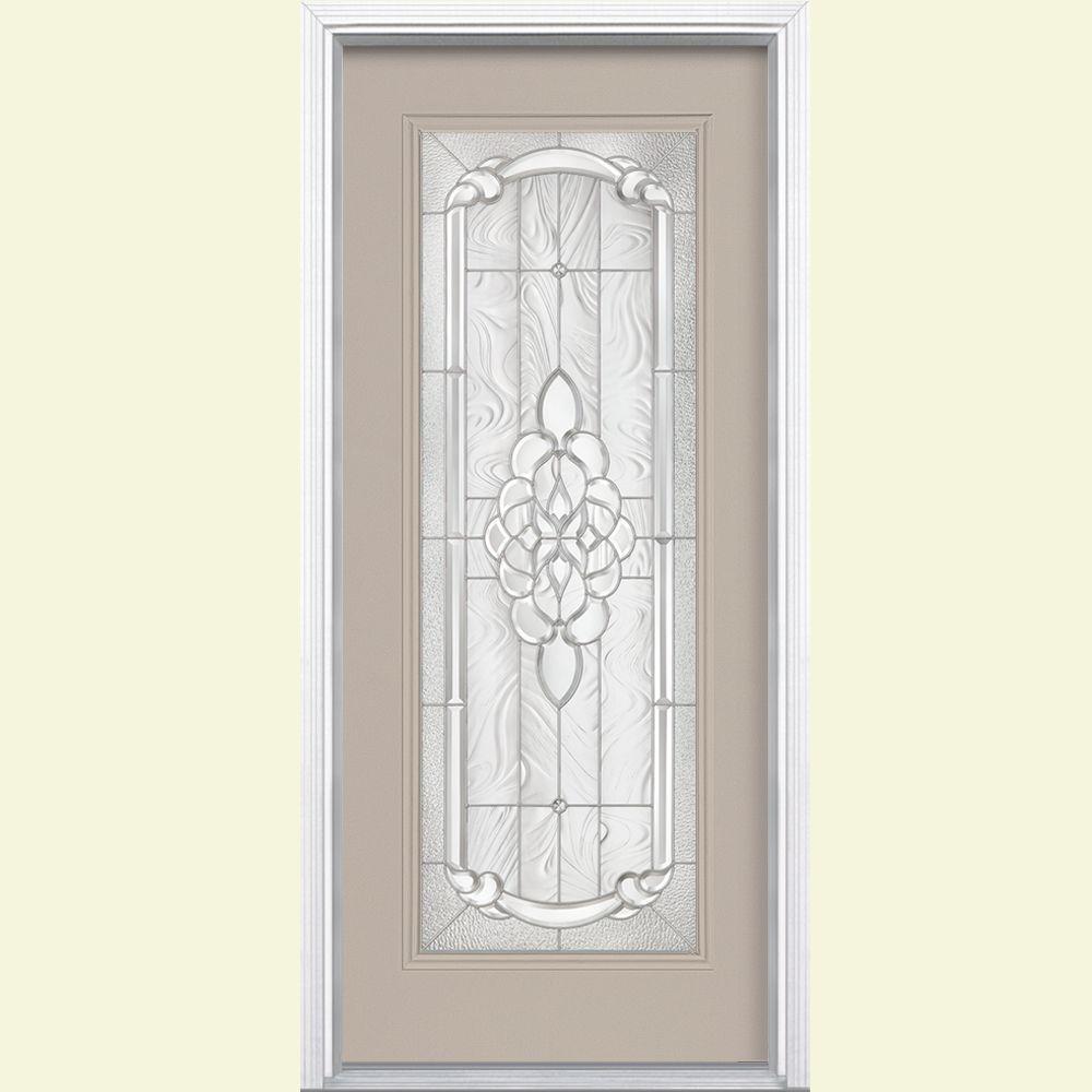 36 in. x 80 in. Oakville Full Lite Painted Smooth Fiberglass Prehung Front Door with Brickmold