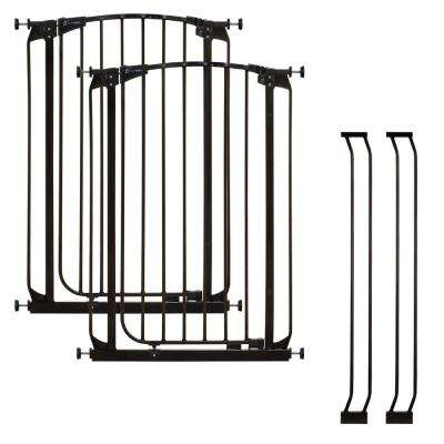 Chelsea 40 in. H Extra Tall Auto-Close Security Gate in Black Value Pack with 2 Gates and 2 Extensions