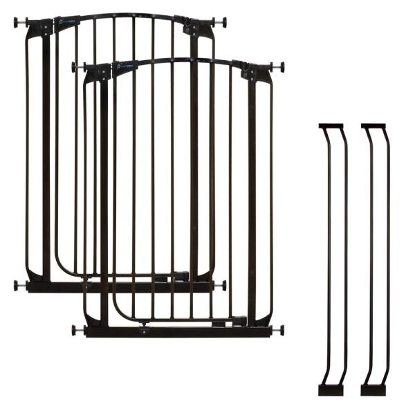 Chelsea 39.4 in. H Extra Tall Auto-Close Security Gate in Black Value Pack with 2 Gates and 2 Extensions