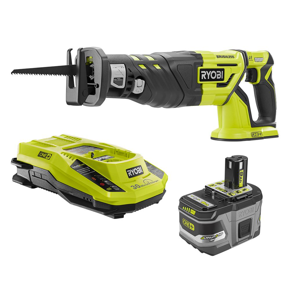 RYOBI 18-Volt ONE+ Lithium-Ion Cordless Brushless Reciprocating Saw Kit with 9.0 Ah Battery and 18-Volt Charger