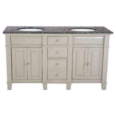 60 in. W x 23 in. D Solid Hardwood Double Vanity in Dove Gray with Solid Granite Top in Leopard