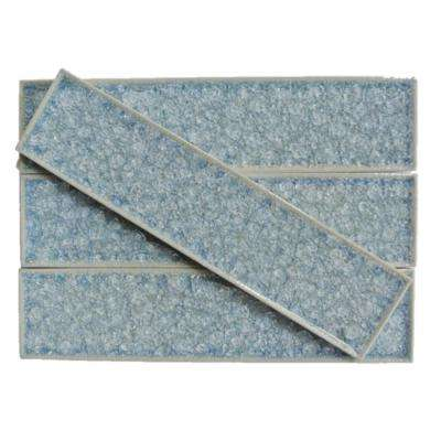 Roman Selection Iced Blue Glass Mosaic Tile - 2 in. x 8 in. Tile Sample