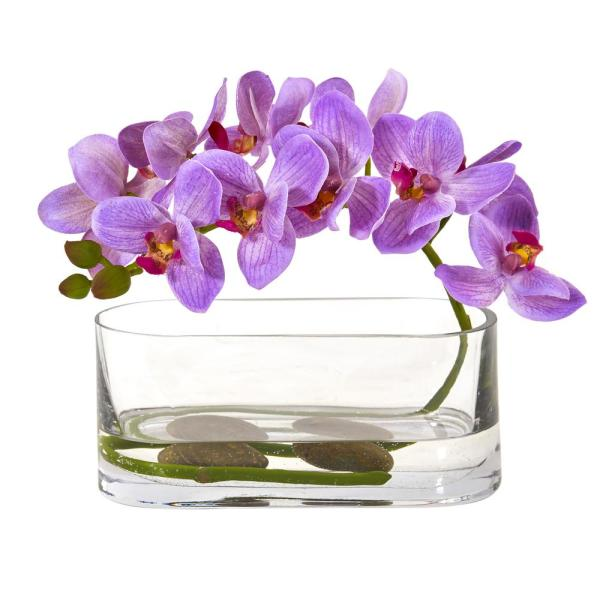 Nearly Natural Phalaenopsis Orchid Artificial Arrangement in Glass Vase 1950-PP