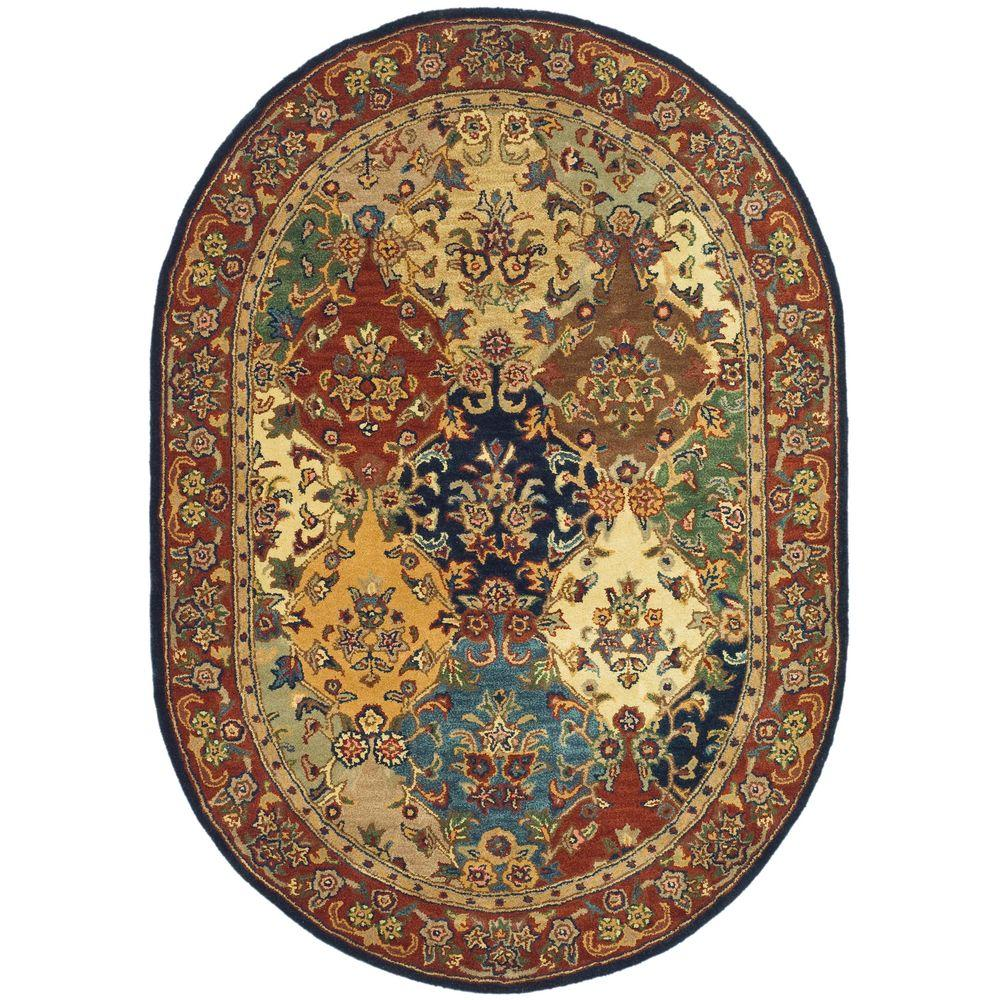 Safavieh Heritage Multi Burgundy 8 Ft X 10 Ft Oval Area