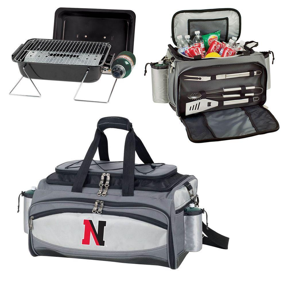 Picnic Time Northeastern Huskies - Vulcan Portable Propane Grill and Cooler Tote with Embroidered Logo, Black/Gray