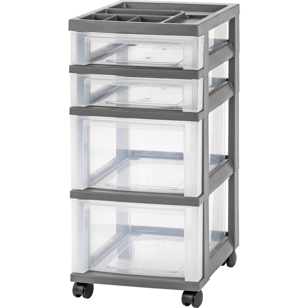 Iris 68 Qt 4 Drawer Storage Bin In Gray