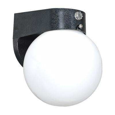 1-Light Black Outdoor Lantern with Poly Globe