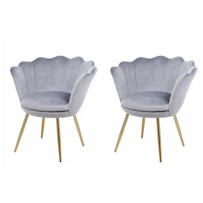 Gray Velvet Wingback Chair with Gold Metal Legs ( Modern Leisure Shell Accent Chair (Set of 2)