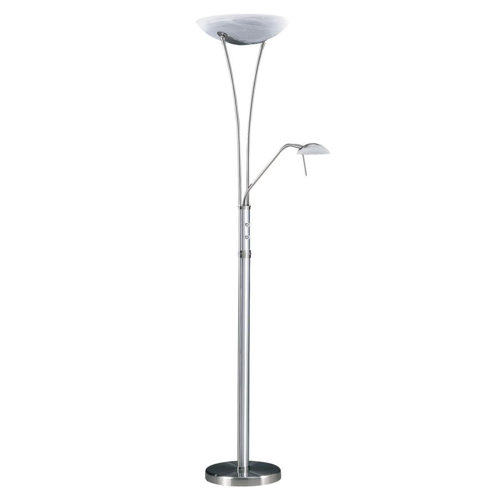 Cassiopeia 72 in. Satin Nickel and Brushed Aluminum Incandescent Torchiere Lamp