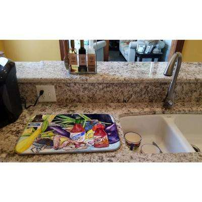 14 in. x 21 in. Multicolor Crystal Hot Sauce with Seafood Dish Drying Mat