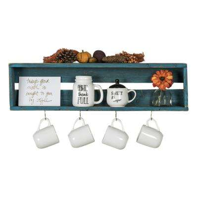 30 in. W x 4 in. D Reclaimed Wood Turquoise Coffee Hook Decorative Shelf