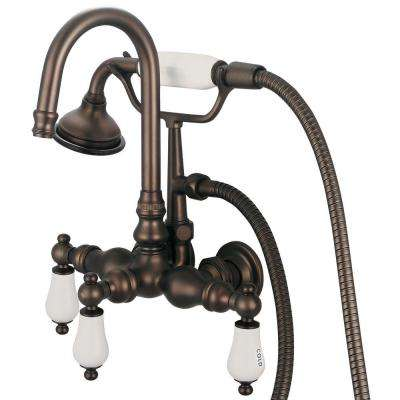 3-Handle Claw Foot Tub Faucet with Labeled Porcelain Lever Handles and Handshower in Oil Rubbed Bronze