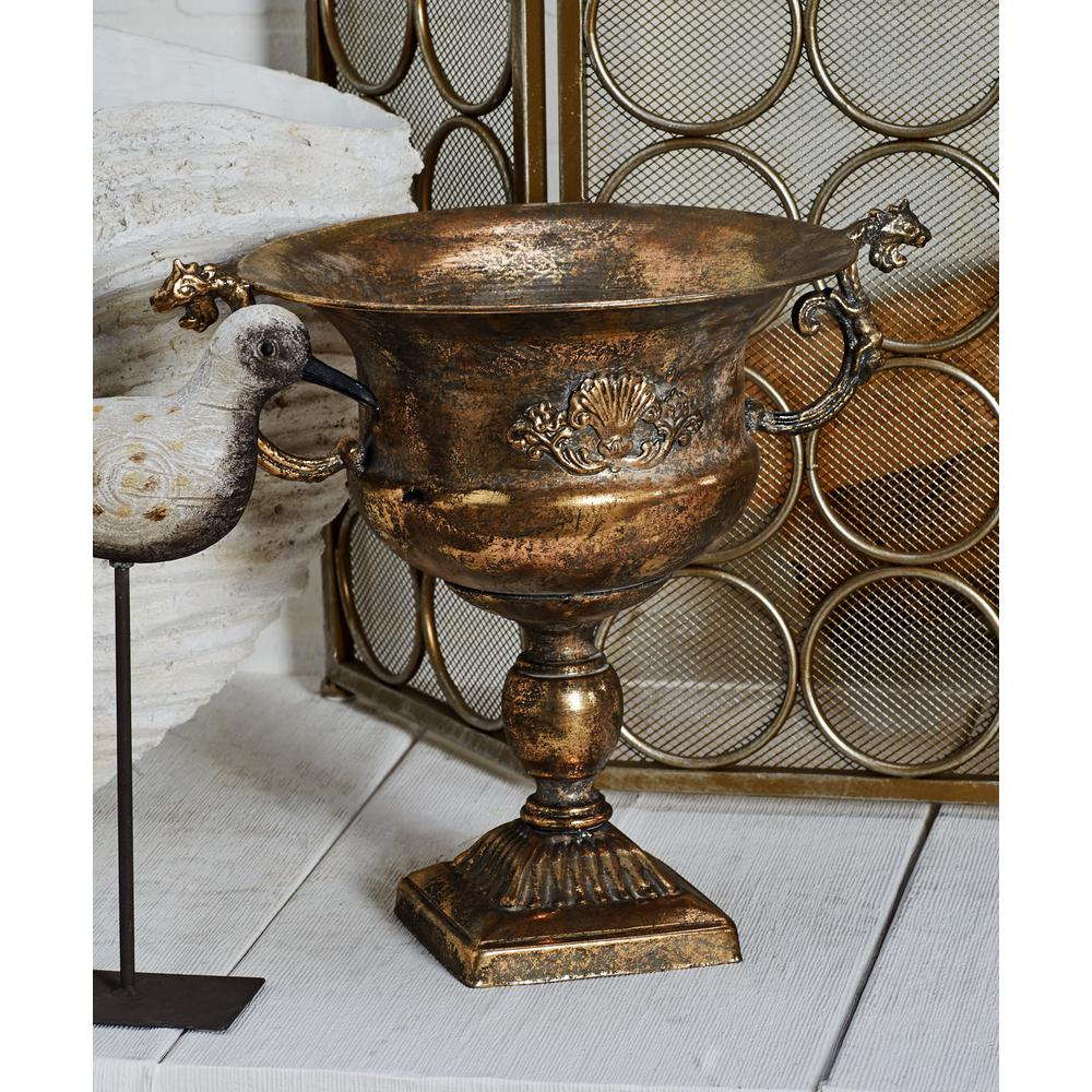 Tarnished Gold Iron Chalice Urn Planter