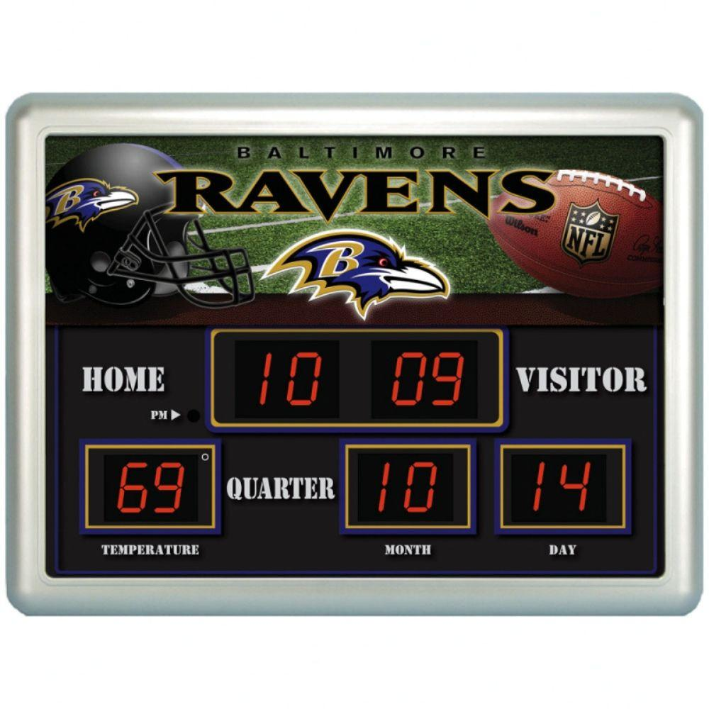 null Baltimore Ravens 14 in. x 19 in. Scoreboard Clock with Temperature