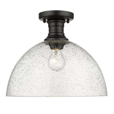 Hines 14 in. 1-Light Black with Seeded Glass Semi-Flush Mount
