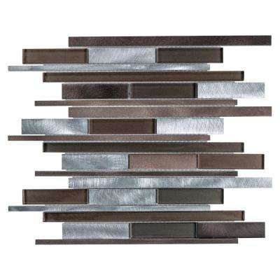 Fusion Linear Noir 11-7/8 in. x 12-1/8 in. x 6 mm Brushed Aluminum and Glass Mosaic Tile