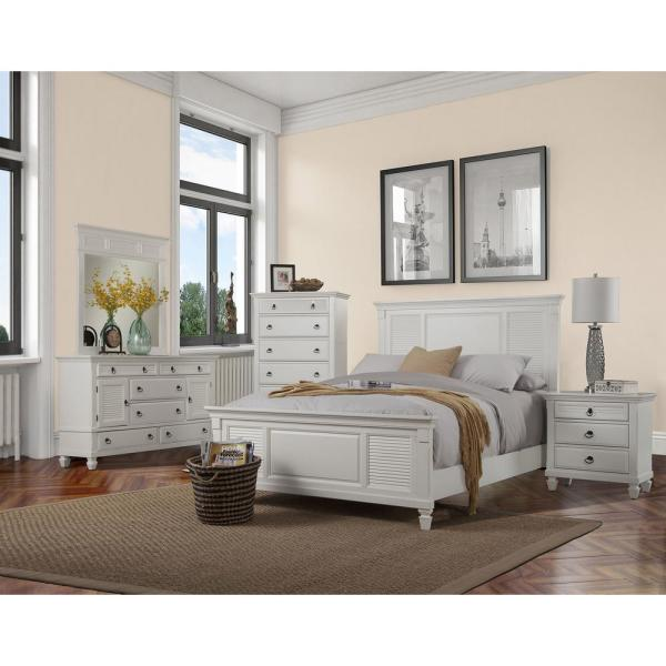 Winchester 3-Drawer White Nightstand 1306-W-NS - The Home Depot