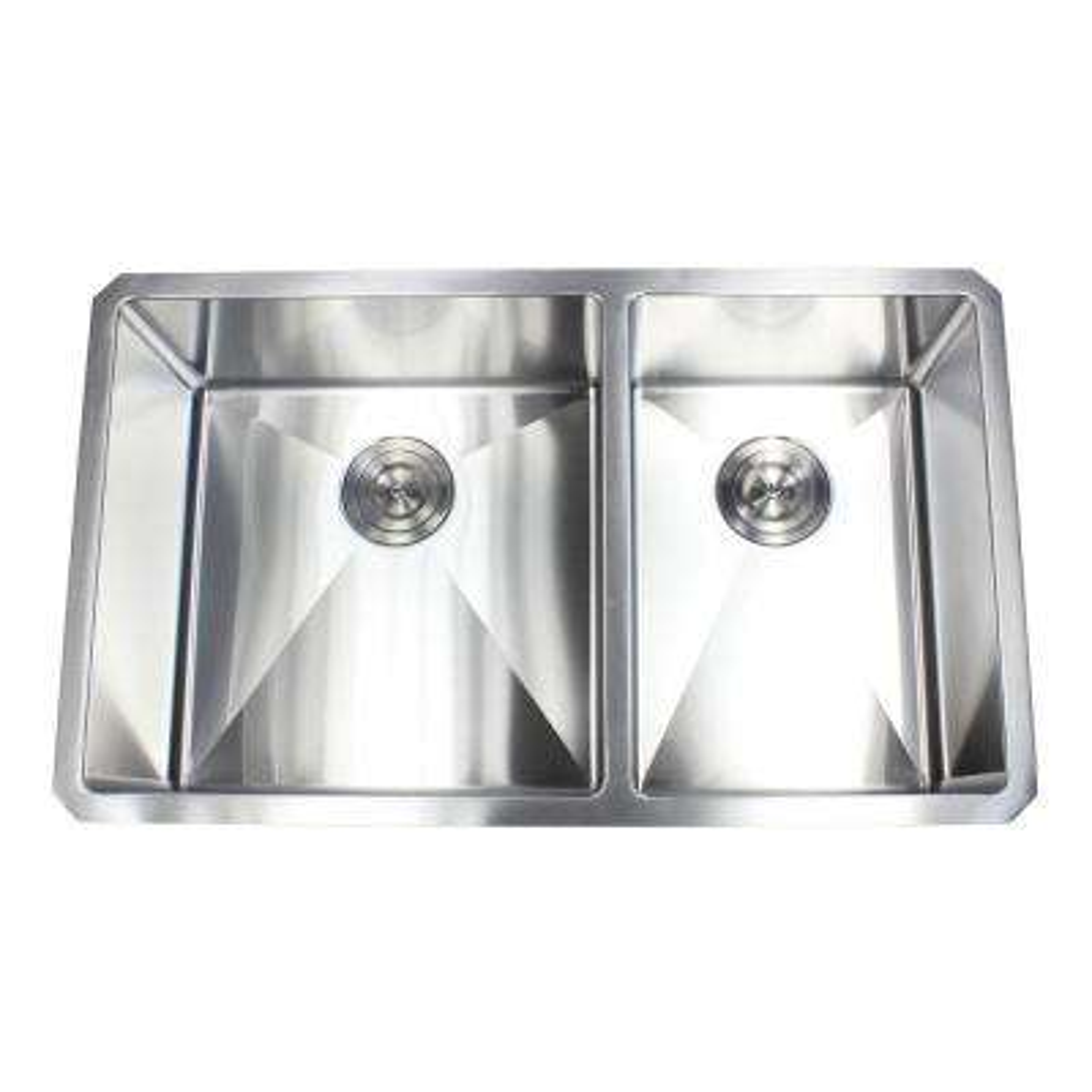 Undermount Stainless Steel 32 in. x 19 in. x 10 in. 16-Gauge 60/40 Offset Double Bowl Kitchen Sink