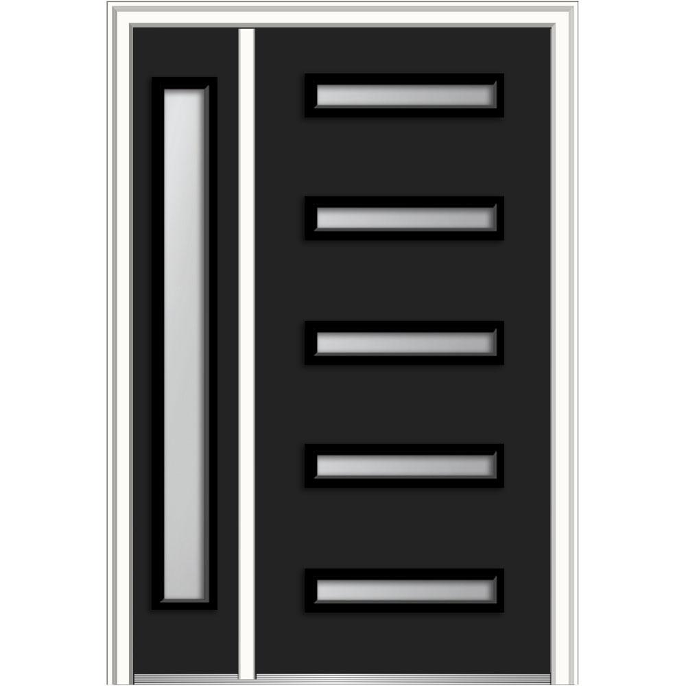 Davina Low E Glass Left Hand Inswing 5 Lite Modern Painted Steel Prehung Front  Door With Sidelite