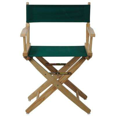 18 in. Extra-Wide Natural Wood Frame/Hunter Green Canvas Seat Folding Directors Chair