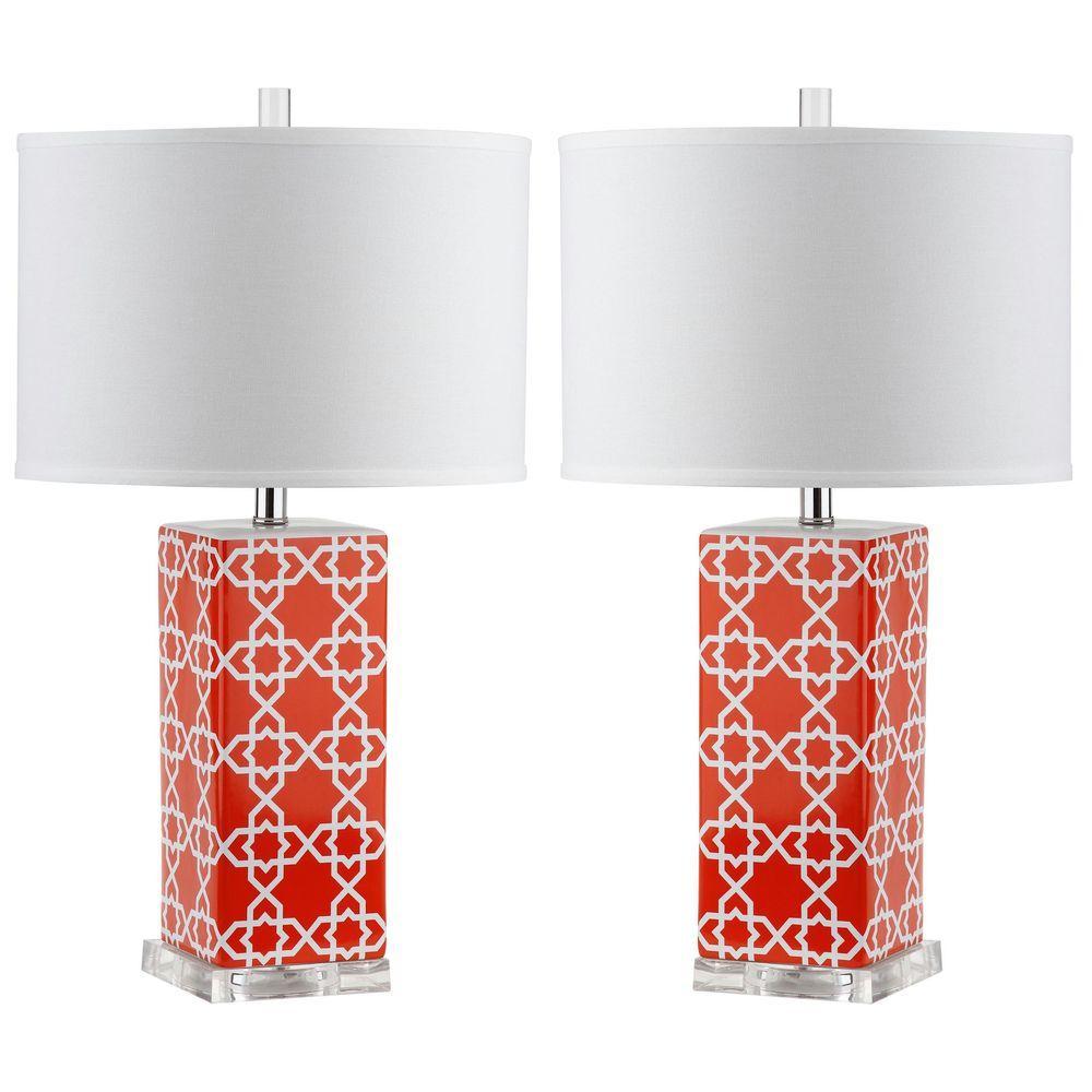 Safavieh Quatrefoil 27 in. Orange Table Lamp (Set of 2)