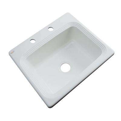 Rochester Drop-In Acrylic 25 in. 2-Hole Single Bowl Kitchen Sink in Sterling Silver