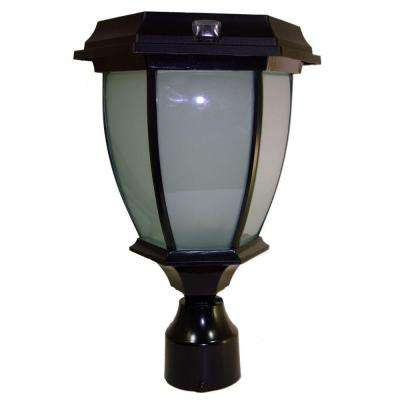 Solar Black LED Outdoor Warm White Coach Light with Convex Glass Panels and 3 in. Fitter Pole Mount